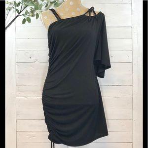 Torrid Black Ruched One Shoulder Mini Dress